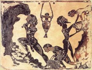 εργάτες πυλού_κορινθιακή πύλινη πλάκα_6ος πΧ αιώνας